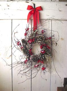 Christmas Wreath - Winter Wreath - Nordic Winter Christmas Wreath - Berry Wreath - Pine Cone - Scandinavian Decor. $64.00, via Etsy.