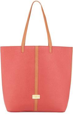Badgley Mischka Tonya Saffiano Leather Contrast Trim Tote Bag, Cognac/Red on shopstyle.com