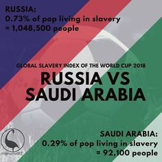 Today the #WorldCup begins and we will keep you informed about the slavery index of every country playing. Did you know #Russia had more enslaved people than #saudiarabia? . . . . . . . . #globalslaveryindex #Russia2018 #Football #worldcup2018 #soccer #flags #slaverystillexists #slave #jointhemovement #awareness #lendyourvoice #WorkersRights #HumanRightsAreNotOptional #HumanRights #EndSlaveTrade #EndSlavery #ModernSlavery #WorkerExploitation #ThisIsNotAcceptable #globalgoals #globalcitizen…