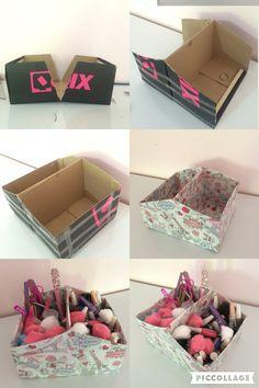 Porta treco com caixa de sapato, muito fácil de fazer. Materiais: 1 caixa de sapato Tesoura Régua Cola branca Fita adesiva Fita dupla face Papel para presente
