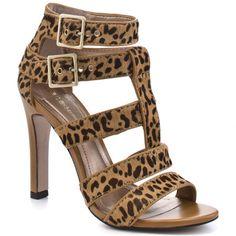 Tan Leopard Pony Sandal