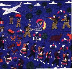 I love Hmong Textiles. They depict the lives of Hmong peeps before & during the Vietnam war. They fought along side the US & were slaughtered. Hmong were killed = 1 in 4 and were nearly wiped out. American Story, Vietnam War, Handicraft, Quilt Blocks, Politics, Textiles, Tapestry, Quilts, Embroidery