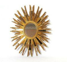 """Vintage Large Oval Sunburst Mirror 33"""" x 26"""": Au Fil de l'Eau Antiques"""