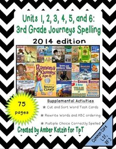 This bundle contains Spelling worksheets for all 30 stories for the © 2014 3rd Grade Journeys: Units 1, 2, 3, 4, 5, and 6.There are a total of 75 student pages to be used as supplemental activities.  **Buying this bundle will save you $5.00 verses buying each unit individually.**  Each story has a cut and sort word sheet, rewrite and ABC worksheet, and a multiple choice to identify the correctly spelled word worksheet.