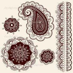 Mandala Flower Tattoo | Henna Tattoo Paisley Flower Doodles Vector | Stock Vector © blue67 ...