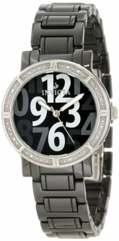Invicta Women's 10279 Black Ceramic Diamond Accented Watch Invicta. $109.99. Water-resistant to 100 M (330 feet). Silver tone second hand. Swiss quartz movement. Black dial with silver tone hands, white and gray large arabic numerals; luminous; 16 white diamonds set on stainless steel bezel. Flame-fusion crystal; black ceramic case and bracelet. Save 92%!