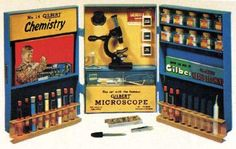 Vintage Gilbert Chemistry Set with microscope.