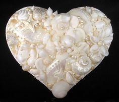 "Seashell Art Shell Mosaic - 7"" Heart - White Shells & Pearls - Wall Accent | eBay"