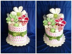 Baby Nappy Cake in Polka Dot And Gorgeous Green. by HelloDuckyA1, $83.00