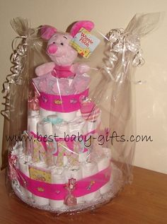Winnie The Pooh - homemade Piglet Diaper Cake (instructions and tips)