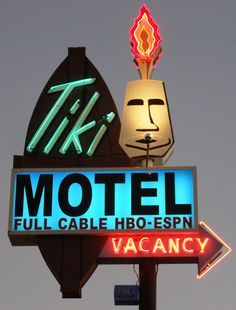 "As seen in the movie ""Interstate""~♛ Vintage Neon Signs, Vintage Tiki, Tiki Art, Tiki Tiki, Sign O' The Times, Neon Moon, Safari, Neon Nights, Tiki Room"