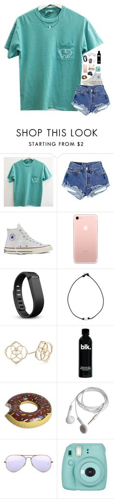"""""""Playing basketball against boys today ughhh....."""" by mmprep ❤ liked on Polyvore featuring Converse, Fitbit, Kendra Scott, ALPHA, Ray-Ban and Fujifilm"""