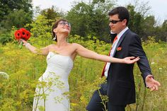 Fun Couple | Bride and Groom's Photos in the yellow flowers field | Destination Weddings by www.AnnasWeddings.com