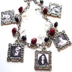 "Twilight Saga - Charm Bracelet  -Twilight Saga - Charm Bracelet with Red Black & White Glass Beads.  Bracelet measures at 7 1/2"" long.  Matching earrings can be made! =)  $20.00"