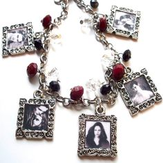 "Twilight Saga - Charm Bracelet  -Twilight Saga - Charm Bracelet with Red Black & White Glass Beads.  Bracelet measures at 7 1/2"" long.  Matching earrings can be made! =)  $20.00"