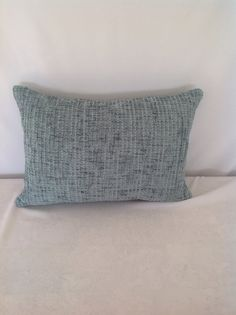 Chenille Teal Two Tone Lumbar Pillow Cover by FeniasHomeDecor