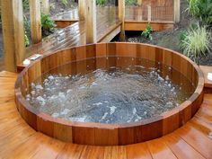 Magnificent Outdoor Jacuzzi Design Ideas For Decorating Your Home Vintage Wooden Jacuzzi Hot Tub Mixed With Wooden Floor Poles Set Near Gard...