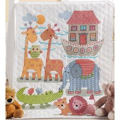 """Two By Two Crib Cover Stamped Cross Stitch Kit-34""""X43"""""""