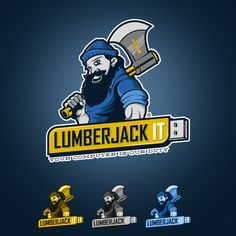 Freelance Jobs Rugged logo for Lumberjack IT, a computer services company. by MDStudios. Northern Arizona University, Computer Service, Brand Identity Design, Create A Logo, Logo Design Inspiration, Color Schemes, Yellow, Blue, Business