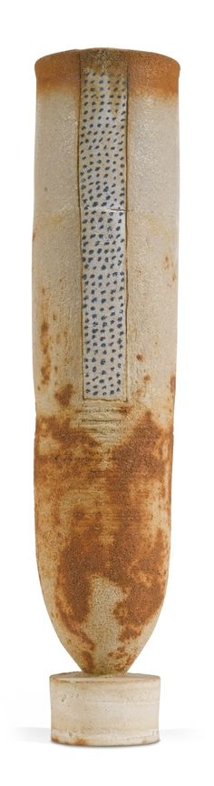 ROBIN WELCH B.1936 TALL VASE ON BASE, stamped with potter's seal, stoneware, height: 32 cm