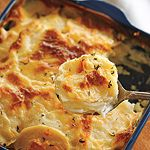 Scalloped Potatoes recipe - Canadian Living-Add a half cup of cheese throughout while bakingmixing and sprinkle some on top near the end to make Au Gratin