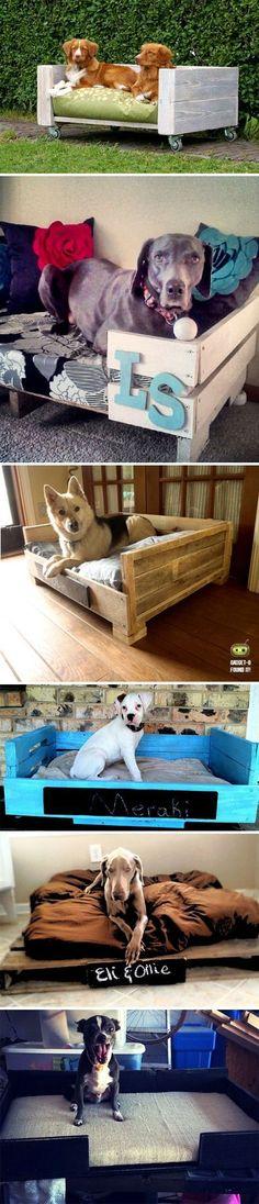 DIY pallet beds for pets! I love love love Pet beds! #pet #bed