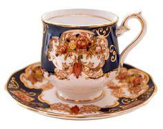 Royal Albert Heirloom Demitasse Coffee Cup & Saucer Gilded Imari English Fine Bone China   Used Like New