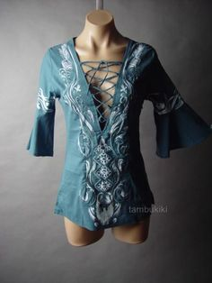 Blue Embroidered Design Bell Sleeve Lace Up Peasant Top Blouse from eBay