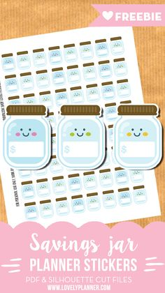 FREE Cute Savings jar stickers for your planner - 64 stickers included - PDF and silhouette cut files