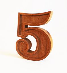 Vintage Number 5 Solid Walnut Letter Sample Early by TheCommonSign