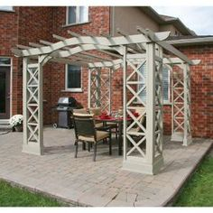 Yardistry, Arched Roof Grey with Plinth Cedar 12 ft. x 12 ft. Pergola, YM11640 at The Home Depot - Mobile