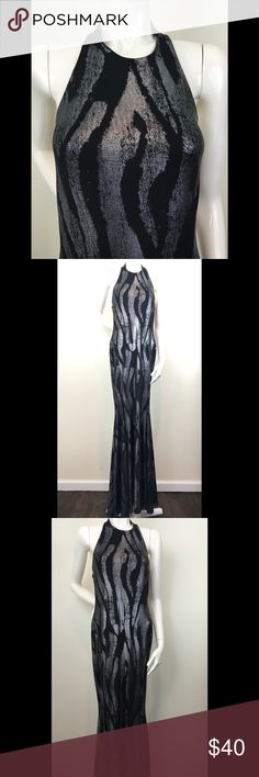 Silver & Black Form Fitting Halter Mermaid Gown Silver & Black Halter Style Form Fitting Mermaid Gown..Gold & Black also available so please check our closet   Brand New  95% Polyester & 5% Spandex - Wet look and slinky like feel  Armpit to Armpit: 14 inches  Length: 62 inches   Perfect for holiday parties & Festivities, special occasions,etc   The price is ❗️Firm❗️ or Bundle with another item (s) for a discount + it saves on shipping costs to bundle   📦Items ship next day📦  Inv Y Dresses…