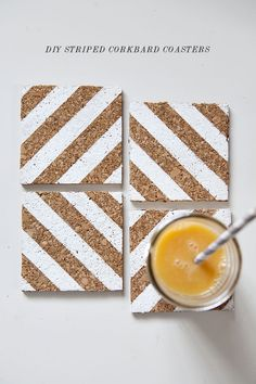 Learn how to make these cool striped DIY corkboard coasters. They're so easy to make and they'll make your table setting extra special.