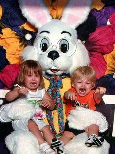 Meeting the Easter Bunny isn't always a fun time