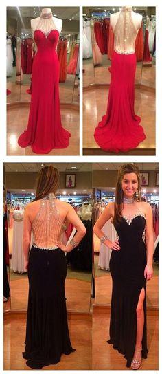 High Neck Slit Illusion Back Prom Dress,Red Prom Dresses Prom Dresses,Evening Dress