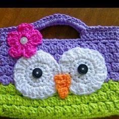 Crochet owl handbag