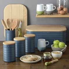 This sleek and stylish blue storage set from Typhoon features the popular Ripple Slate Oval Bread Bin. With a lid that doubles as a chopping board this blue oval bread bin will make a fantastic addition to your kitchen. Only £41.99. Click http://www.nucasa.co.uk/bread-bins/ to see the rest of the #vintage #colourful #breadbins we have available