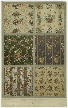 L'ornement des tissus (1877) - [Floral textile patterns, 18th century.]