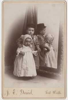 Two Siblings Times Two - Cabinet Card with Mirror   Flickr - Photo Sharing!