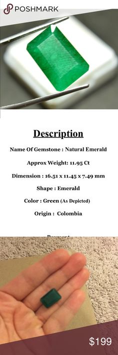 11.95 carats natural Emerald Very beautiful earth mined Emerald   Huge 11.95 carats big.    All offers excepted. Jewelry