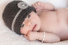 Baby Flower  Beanie Great Photo prop by cottoncorner on Etsy