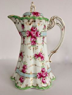 Nippon Antique Chocolate Pot Pink Roses Blue Ribbons Gold: