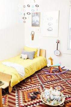 Rachel Home Tour Napa Valley, Clad Home, Ikea Mirror, Blue Artwork, Bentwood Chairs, Cottage, Vintage Soft, Storage Baskets, Kids Bedroom