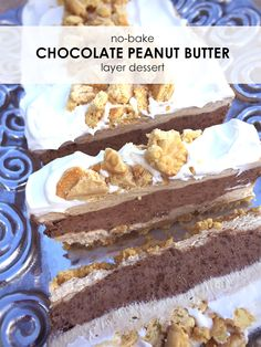 Everyone loves this refreshing, yummy No-Bake Chocolate Peanut Butter Layer Dessert. It's a great option for a summer dessert night with friends!