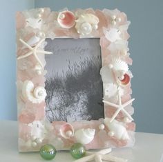 Beach Decor -picture frame with shells, pink sea glass and pearls.
