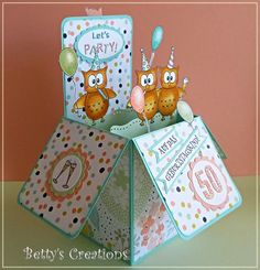 Bettys-creations: Pop Up Box Card zum Card In A Box, Pop Up Box Cards, Card Boxes, Fancy Fold Cards, Folded Cards, Stampin Up, Box Cards Tutorial, Step Cards, Cards Diy