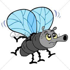 Cartoon Fly On White Background   Vector Illust...