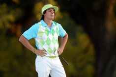 AUGUSTA, GA - APRIL 12: Rickie Fowler of the United States reacts to a putt on 18th green during the second round of the 2013 Masters Tournament at Augusta National Golf Club on April 12, 2013 in Augusta, Georgia.