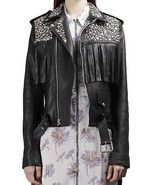 New Woman Silver Studded Long Fringed Punk Cowhide Leather Jacket 2019 - $289.99+