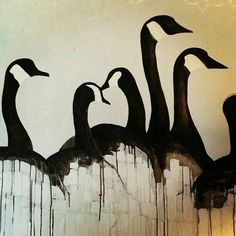 Photo by thebarnswallow Canada Geese / bird art Watercolor Bird, Watercolor Paintings, Watercolours, Art Canard, Animal Drawings, Art Drawings, Duck Art, Canadian Art, Wildlife Art